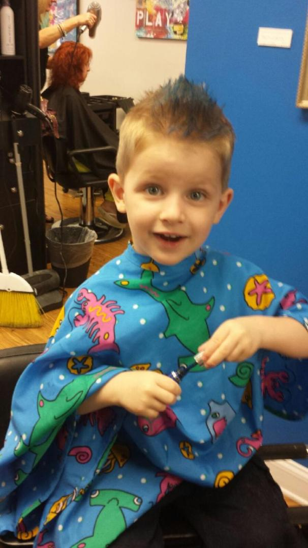 Boy's cut with temporary color by Amy